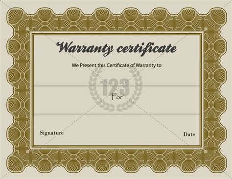 Special Warranty Certificate Templates Free