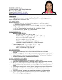 Resume Sample Nurses Without Experience by Sample Of Resume For Abroad Great Job Resumes