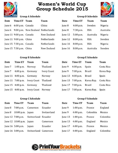 Printable Schedule World Cup 2015   printable 2015 women s world cup group schedule