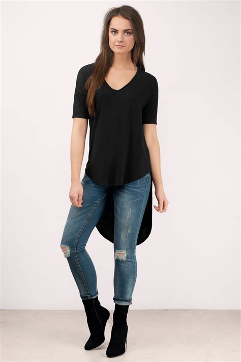 trendy black shirt high low shirt black