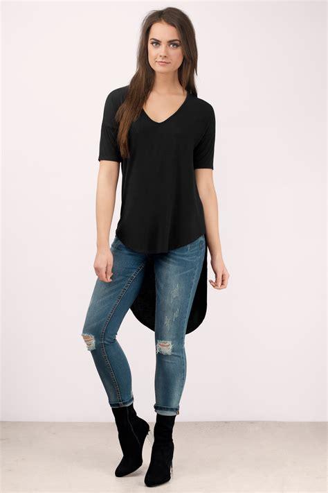 Hi Low Top Leging trendy black shirt high low shirt black