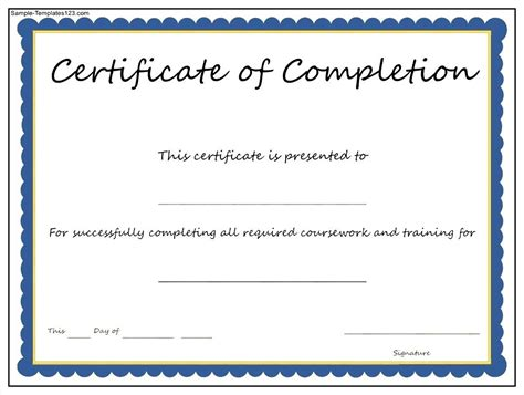 Blank Certificates Of Completion Mughals Blank Certificate Of Completion Template Word