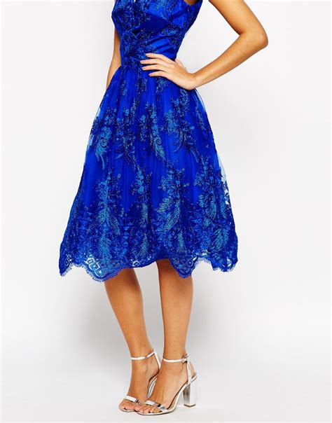 chi chi wrap front midi prom dress in premium metallic lace in blue lyst