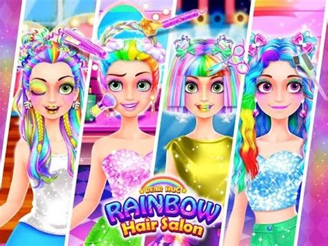rainbow hairstyles games rainbow hair salon dress up unicorn hairstyle makeup