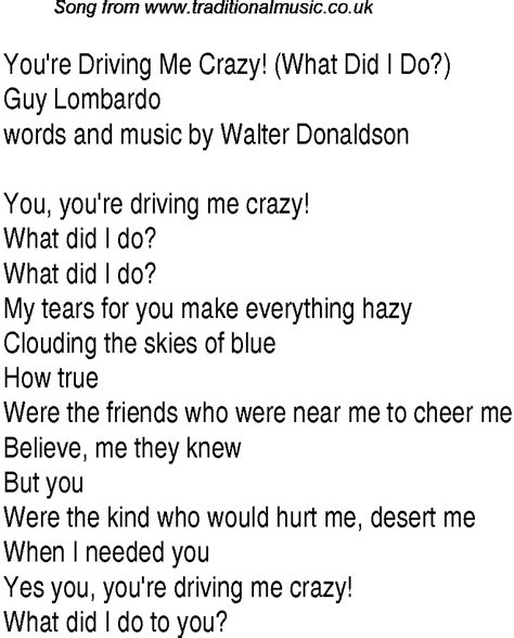 drive me crazy lyrics top songs 1930 music charts lyrics for youre driving me