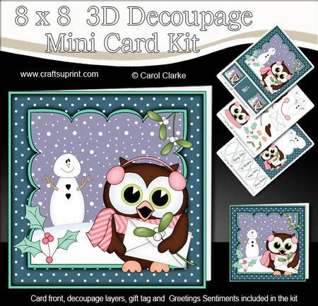 3d Decoupage Picture Kits - 8x8 hoot owl letter for santa 3d decoupage