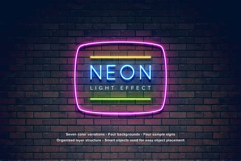 Neon Light Effect By Erigonn On Envato Elements Neon Sign Photoshop Template