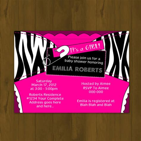 printable zebra and pink invitations hot pink and zebra stripes diaper baby shower printable