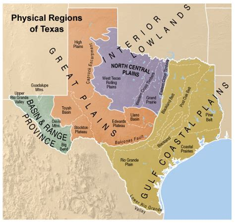 texas four regions map geography of texas wsms 7th texas history