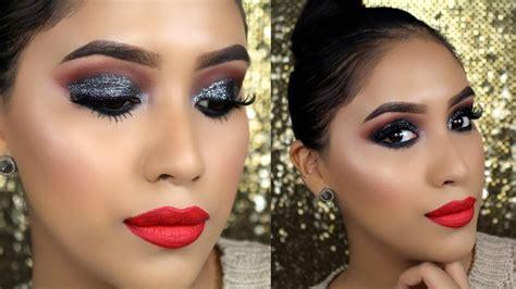labios con glitter rojo brillantina youtube maquillaje glamuroso festivo sombra con brillo y labios