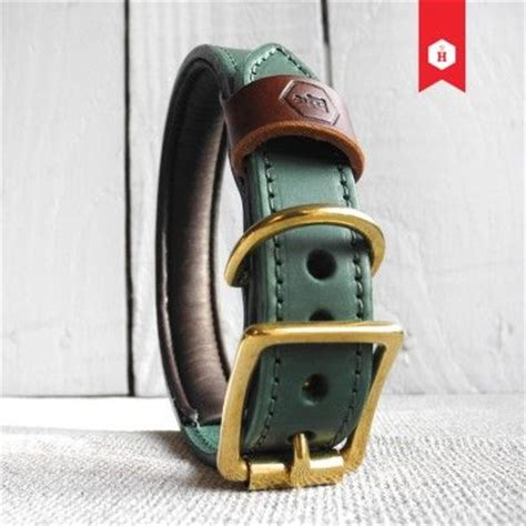 Pet Rempel Twotone monogram two tone luxury padded leather collar in green chestnut pet products