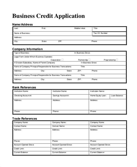 Credit Application Form Za 11 Sle Credit Application Forms Free Sle Exle Format