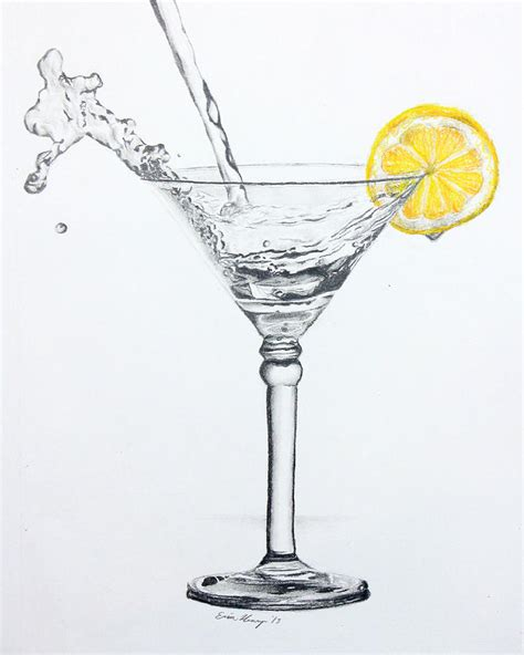 martini drawing lemon martini splash drawing by erin henry