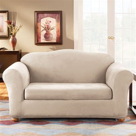 how to put on sure fit slipcovers sure fit slipcovers form fit stretch suede 2 piece sofa