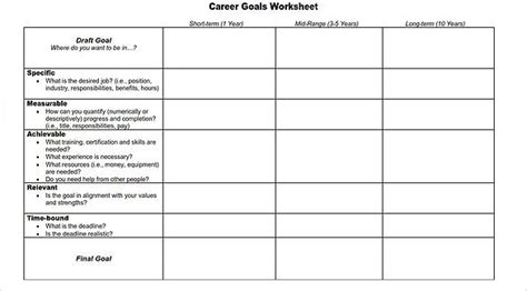 smart goal template excel images