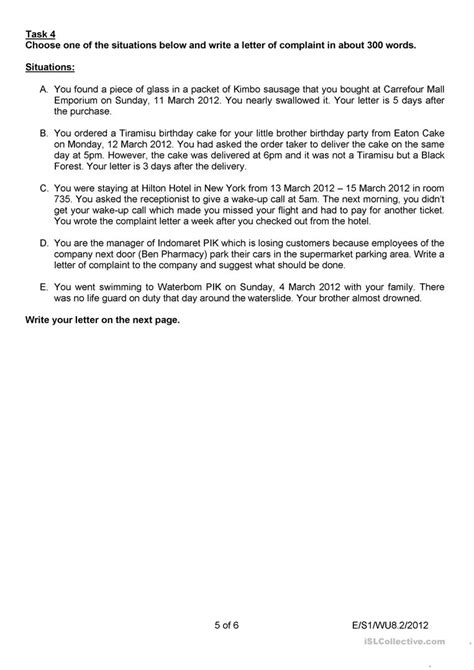 Complaint Letter Worksheet Letter Of Complaint Worksheet Free Esl Printable Worksheets Made By Teachers
