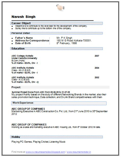 Resume Format Doc For Fresher Bcom 10000 Cv And Resume Sles With Free B Resume Sle