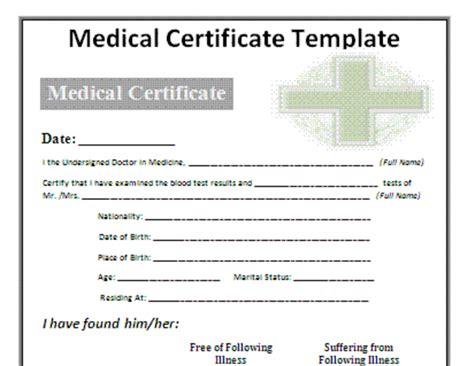 word 2007 medical certificate psycho chybernetics tk