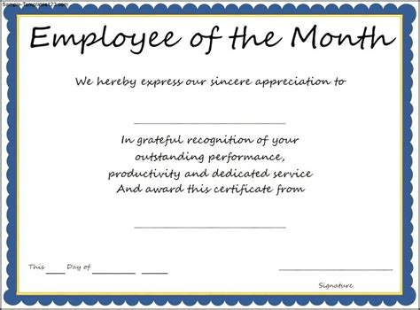 of the month certificate template interesting certificate template exle for employee of