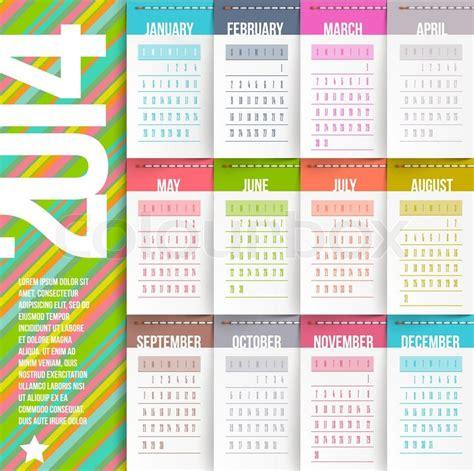 Etiketten Design Vorlage Vector Design Vorlage Kalender 2014 Mit Abgesteppten