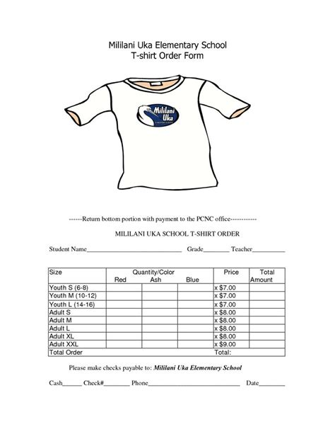 shirt order form template school t shirt order form template clothes