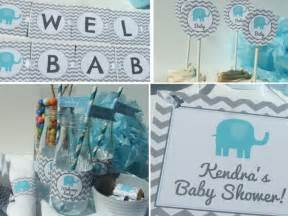 elephant baby shower decorations package blue gray
