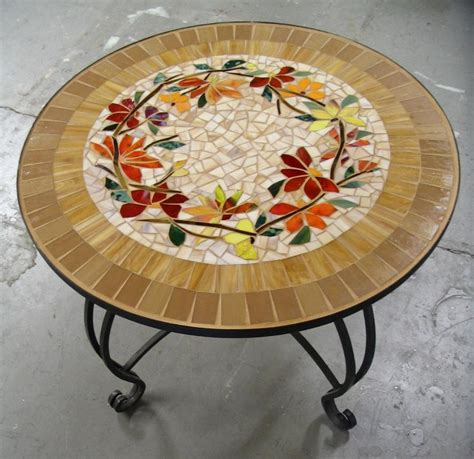 MOSAIC TABLE floral motif CUSTOM stained glass inlaid iron