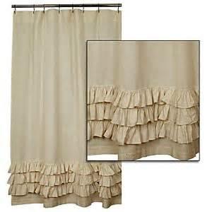 New french country bath fabric tan flax ruffled shower curtain shabby