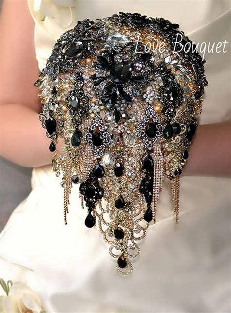 wedding bouquet jewellery rhinestone bouquet brooch bouquet black and gold wedding