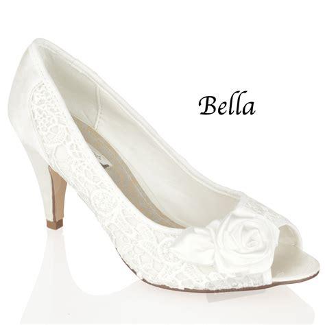 Bridal Heels Ivory by Womens Ivory Mid Heel White Satin Bridal Wedding