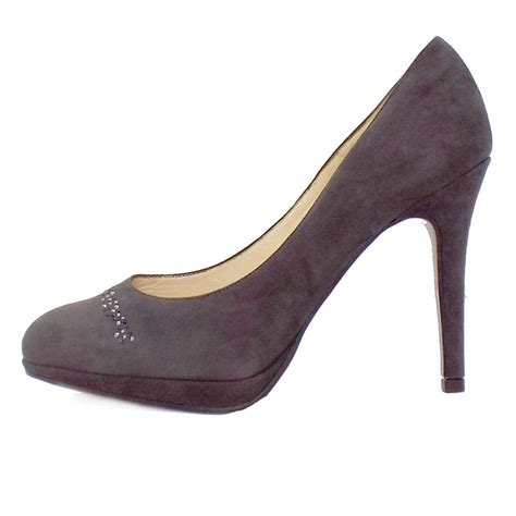 grey suede high heel shoes kaiser nikola carbon grey suede court shoes