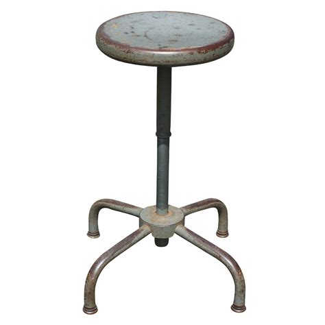 1 industrial age tubular adjustable gray metal stool for