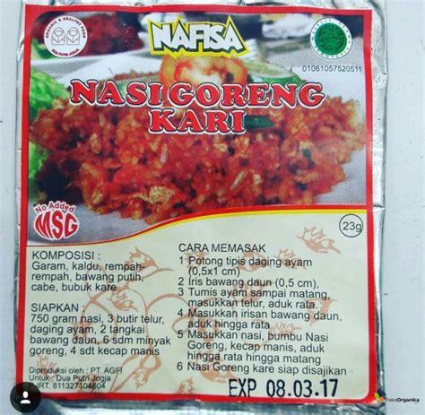 Nafisa Kecap Organic detil produk bumbu instan non msg nasi goreng kari 23gr