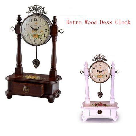 home decor clock retro wood desk clock for wedding gift vintage home decor