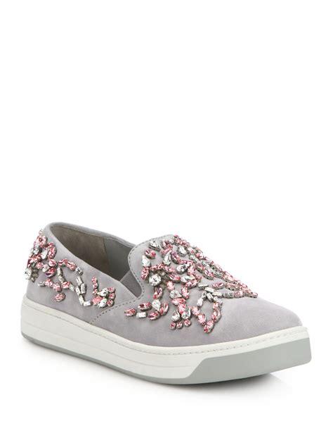 womens prada sneakers prada jeweled suede slip on sneakers in pink lyst