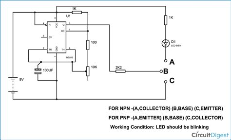 transistor darlington test simple transistor tester circuit diagram using 555 timer ic