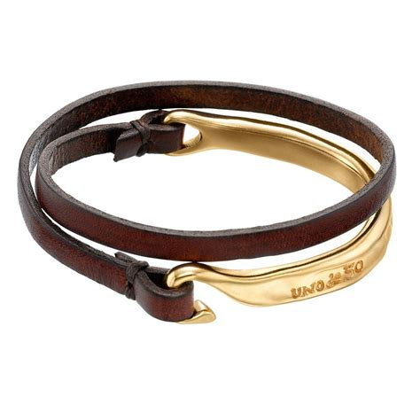 Leather Bracelet 10 uno de 50 half turn gold plated and brown leather bracelet 10 inches size m shop bid