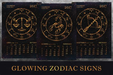 Zodiac Signs Calendar Calendar For 2017 Year With Zodiac Signs On Behance