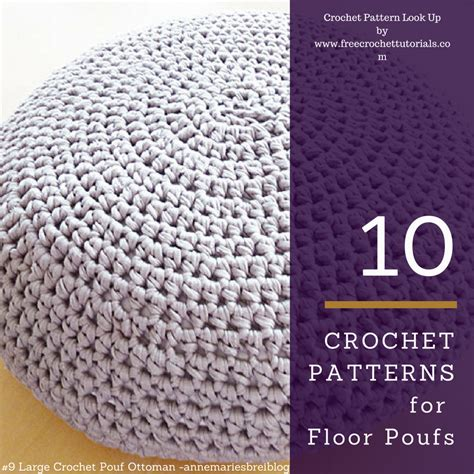 Pouf Ottoman Pattern by 10 Crochet Patterns For T Shirt Yarn Floor Poufs Free