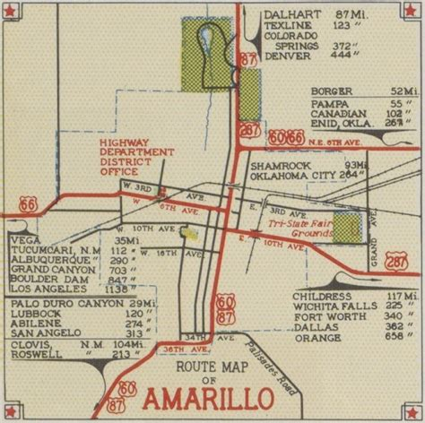 amarillo map of texas history of amarillo texas 1939 1941 route maps of amarillo the panhandle