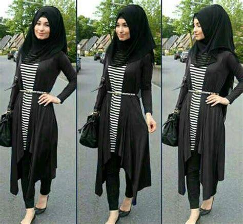 Sale Jilbab Pashmina Crepe Hitam Putih baju setelan 4in1 model terbaru cantik murah