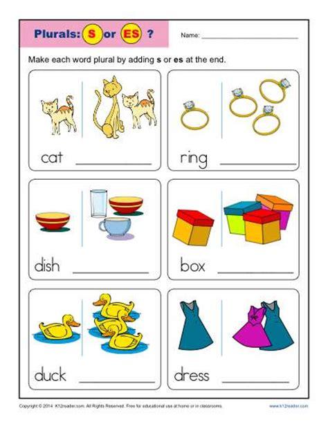 Noun Worksheets For Kindergarten by Kindergarten Plural Noun Worksheets S Or Es