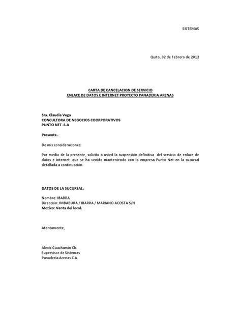 carta de cancelar un servicio carta de cancelacion servicio enlace de datos