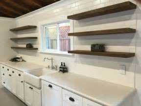 reclaimed wood floating shelves design for white kitchen
