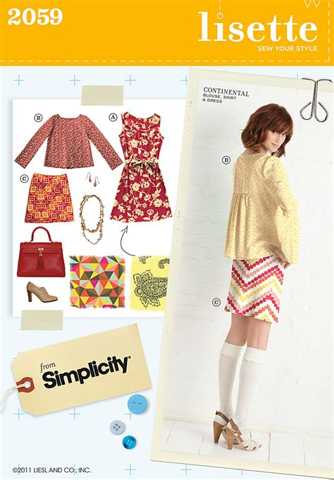 Pattern Review Lisette | simplicity 2059 misses dress blouse and skirt