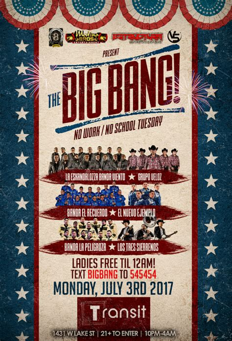 banda boat cruise 2018 chicago the big bang monday july 3rd at transit nightclub chicago