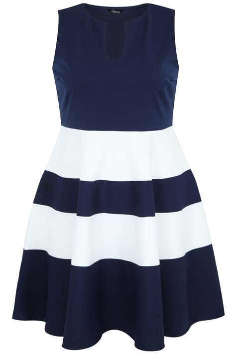 Dress Navy Stripe navy and white block stripe skater dress plus size 14 16