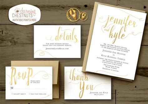 White And Gold Wedding Invitations Set Classic Gold Printable Wedding Invite Personalized White And Gold Invitation Templates