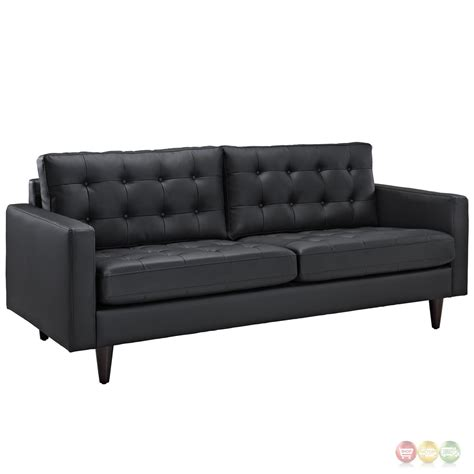 leather sofa and armchair empress modern 2pc button tufted leather sofa and armchair