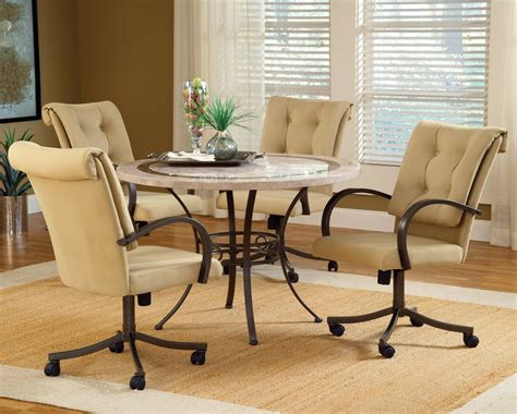 caster chairs dining set dining room sets with upholstered chairs with casters
